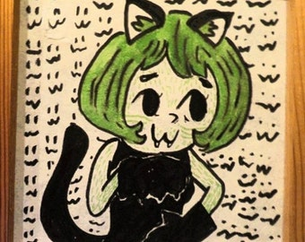 15x15 small catgirl painting