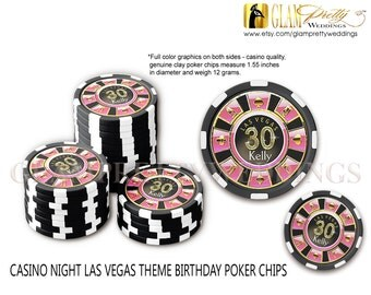 Set of 10 Las Vegas 30th Birthday Poker Chip Favors pink gold black - Style Name: ABBY