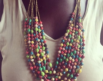 Multicolored Paper Bead and Gold Multi-Strand Necklace