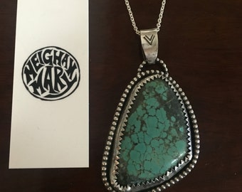 Turquoise sterling silver pendant with 60cm chain