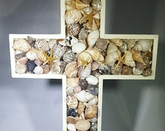 Wood Cross with Natural Shells