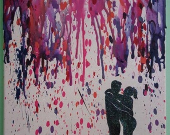 Melted Crayon Silhouette Art, Custom Couple Silhouette