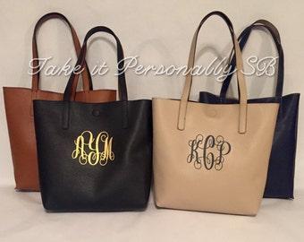 Monogram Purse - Monogrammed Faux Leather Tote Bag - Monogrammed Handbag - Monogrammed Purse - Reversible Totebag - Neutral Color Pocketbook