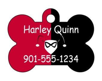 Harley Quinn Dog Tag Pet Id Tag Personalized w/ Name & Number