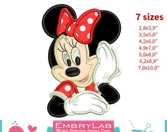 Applique Minnie Mouse. Machine Embroidery Applique Design. Instant Digital Download (16263)