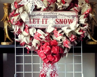 Red and Cream Let It Snow Winter Door Wreath With Bow and Tails W27