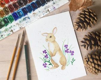 Original watercolour painting - rabbit amongst wild flowers