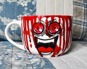Crazy bloody smile hand painted mug