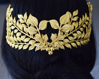 Wedding Headpieces, Bridal Crown, Gold Leaf Headpiece, Wedding Hairpieces, Greek Wedding Crown