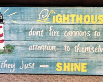 Lighthouse beach wall hanging with encouraging words