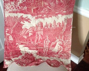 Antique French Red Toile Panel