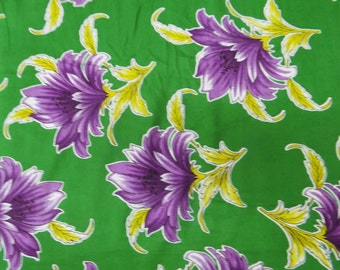 """Pure Cotton Fabric With Green Color Floral Printed 43""""Wide Sewing Crafting Material For Dress Making Indian Floral Fabric By 1 Yard ZBC4695"""