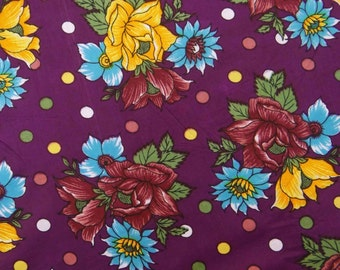 """Designer Purple Color Pure Cotton Indian Fabric Floral Printed Pattern 41"""" Wide Sewing Crafting Dress Making Material By The Yard ZBC5611"""