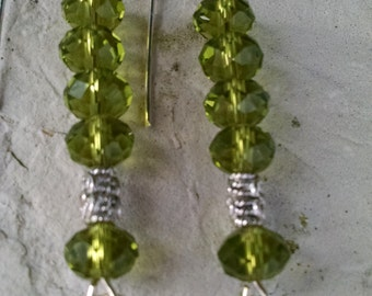 Green crystals,sterling silver wire and circle,long drop,one of a kind