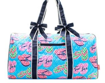 Large quilted duffel bag