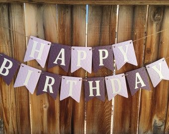 Purple birthday banner, First Birthday banner, Purple Birthday, Purple birthday banner, Happy Birthday Banner