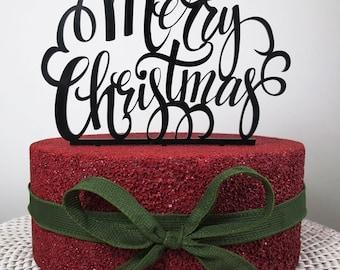 Christmas Cake Topper, Cake Topper, Merry Christmas, Acrylic Cake Topper, Christmas Decoration, Christmas.