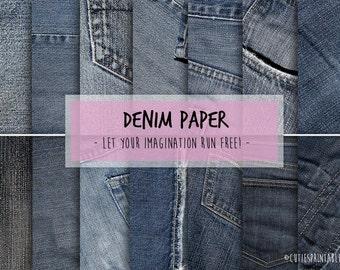 Digital Craft Paper - Denim Jeans pack printable digital download for scrapbooking - Craft Sheets - fabric clip art