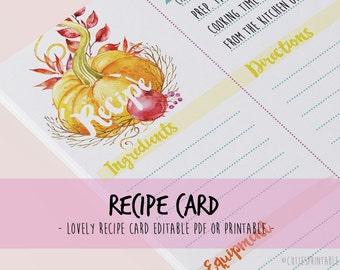 Recipe Card Shower Kitchen Editable PDF - Instant Download Recipe A4 and 4x6'' Watercolour pastel colours