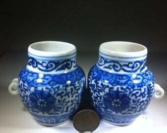 Vintage - Chinese Birdfeeders - Blue and White Porcelain