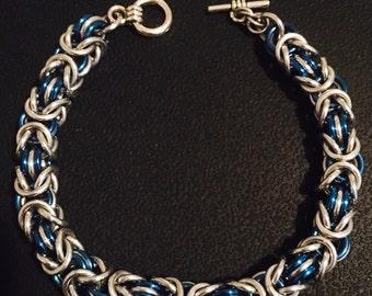 Byzantine Bracelet - Blue and Silver Aluminum