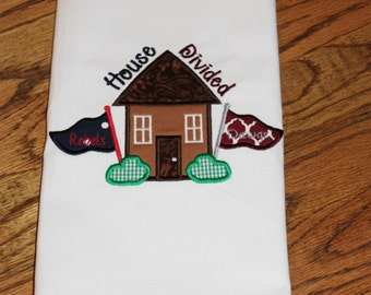 House Divided Kitchen Towel, House Divided Towel, Ole Miss Decor, Mississippi State Decor, Gift Ideas, Game Day Decor, Tailgating Decor