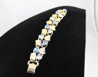Vintage CORO PEGASUS Blue Pear shaped Rhinestone Bracelet