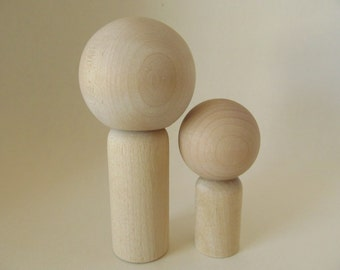 Kokeshi dolls - Peg dolls - DIY, blank, unpainted, unfinished wooden dolls - Ready to Paint - Set of 2 - Daddy and me