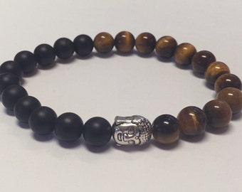 Beaded Tiger Eye and Black Onyx Men's Bracelet.
