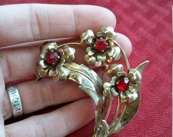 Vintage Gold Tone Red Rhinestone Pin - Harry Iskin Designed C. 1930-1953- Sterling Silver