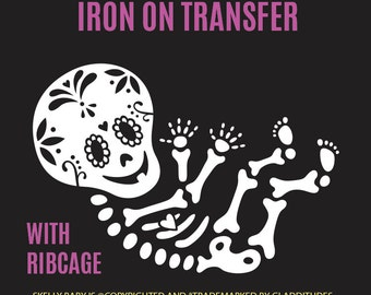 DIY Iron-on Transfer - Sugar Skull Skelly Baby Maternity Skeleton