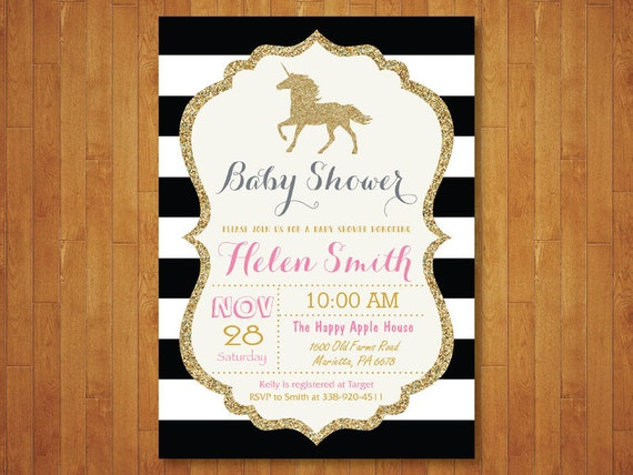 unicorn baby shower invitation. pink black and gold baby, Baby shower invitations