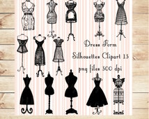 Dress Form Silhouettes Clipart, Vintage Manniquin Clipart, Commercial & Personal Use, Digital Stamps, Black Dress Forms png, Invites, Tags