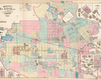 1921 Very Detailed Land Ownership Property Map San Fernando Valley Los Angeles - Reprint