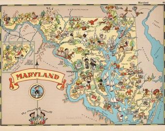 1935 Old Historical Cartoon Map Maryland Chesapeake Bay Vintage Fishing Sailing