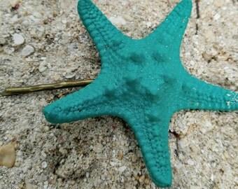 Aqua starfish hairpin, starfish bobby pin, Mermaid hair, beach hair, bridesmaid gift, beach wedding hair, beach hair accessory, bridal hair!