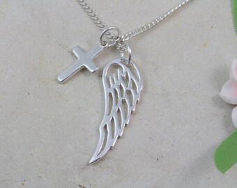 Sterling silver angel wing cross necklace, Sterling silver angel wing cross necklace, memorial filigree wing necklace, silver wing necklace
