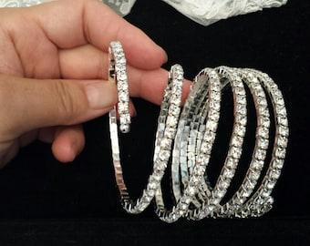 Adjustable Rhinestone Bracelet, 6-Row, Bridal Bracelet, Wedding Jewelry, Cuff Bracelet