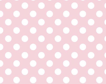 """Baby Pink and White Medium Dots 3/4"""" - Riley Blake Designs - Light Polka Dots - Cotton Woven Quilt Fabric - choose your cut"""