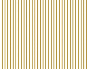 Wonderland Stripe Gold SPARKLE by Riley Blake Designs - Metallic Gold White Easter - Quilting Cotton Fabric - by the yard fat quarter half