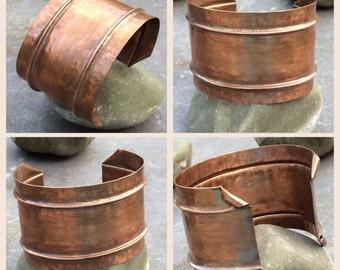 Solid copper, wide cuff bracelet