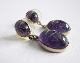 Vintage Sterling Silver Carved Amethyst scarabs Earrings