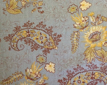 Light Yellow and Brown Paisley Print and Flowers on Blue Background, 100% Cotton