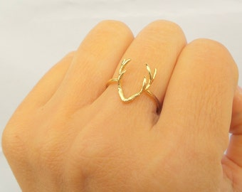 Deer Ring / Deer Jewerly /  Simple Ring / Statement Ring / Gold, Sterling silver chain / Gift for her / Delicate Ring
