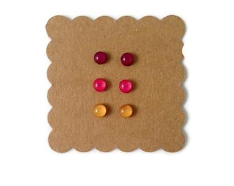 Tiny stud earrings, Earring set, handmade jewelry