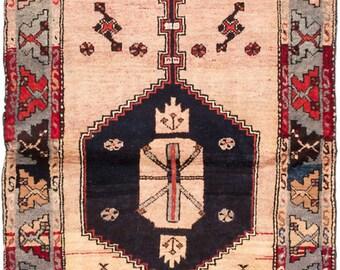 """Vintage Persian Gharajeh Rug, 3'7"""" x 11'2"""""""