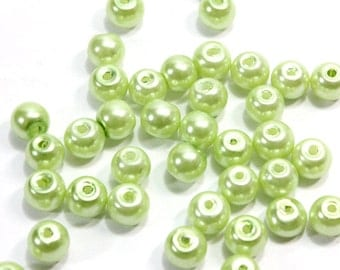 Greenish Yellow Glass Pearls. (30) Green Glass Pearls for Making Jewelry. Yellow Glass Pearls. Small Pearls for Necklaces. Round Pearls. 6mm