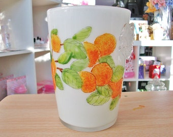 Frosted Vase with Oranges