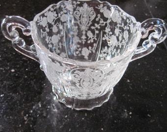 Cambridge Rose Point Sugar Bowl - Item #1153