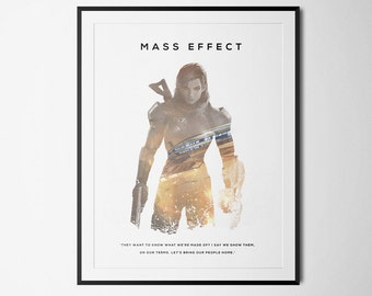 Mass Effect Inspired Female Sheppard Double Exposure Poster Print - Video Game Art
